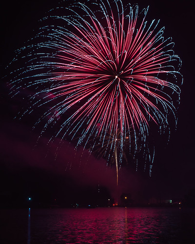Fireworks, Red, Blue, Kewaunee, WI, July 4th, 4th of July, Independence Day