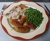 Sunday lunch 7.7.15: Roast turkey and potatoes with peas.