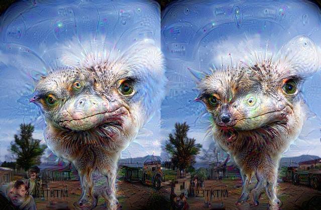 DeepDream3D ostrich