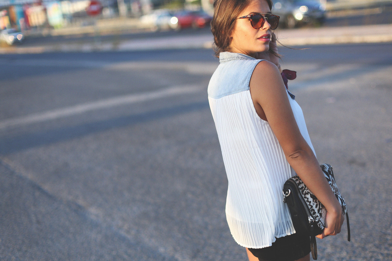 3. white denim vest black shorts sandals