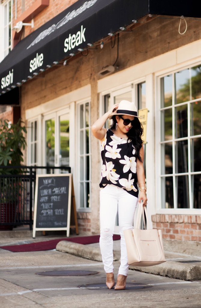 cute & little blog | black floral sleeveless top, white distressed jeans, nude tote, baublebar sunshower drop earrings, louboutin so kate pumps | spring summer outfit