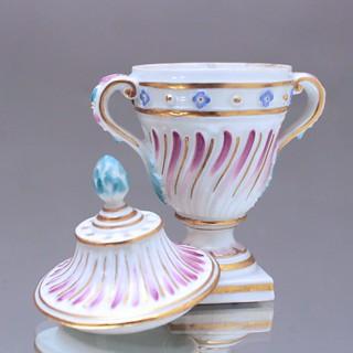 Meissen, Potpurri, Vase, Deckelvase Brule Parfum, Rokoko, Punktzeit, Vase, Miniatur