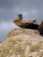 Balancing rock with cairn on top