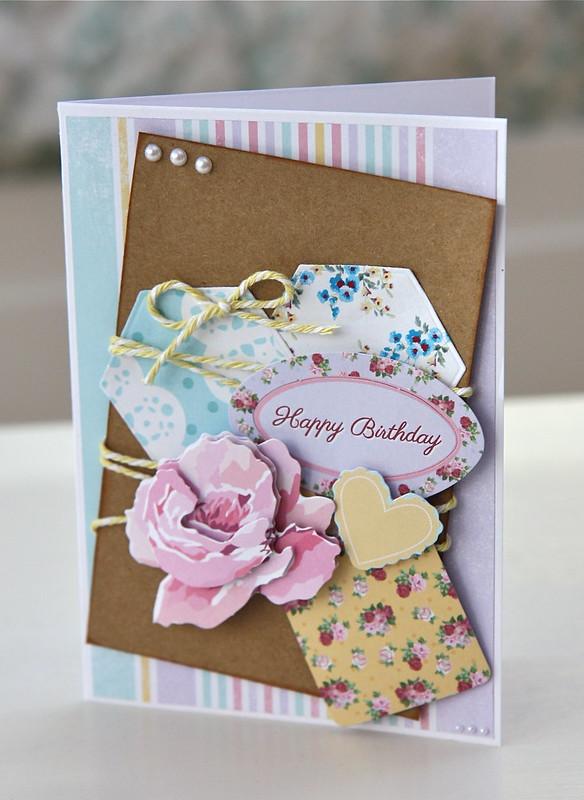Docrafts Design Team Blog Hop Simply Floral birthday card by StickerKitten