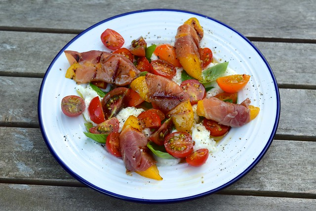 Grilled Prosciutto Wrapped Griddled Nectarine Caprese Starter | www.rachelphipps.com @rachelphipps