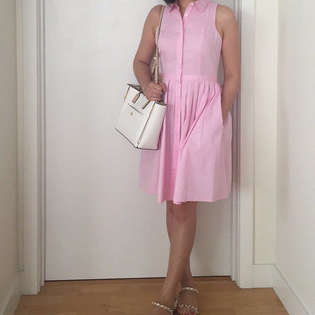 Ann Taylor Sleeveless Shirtdress Outfit