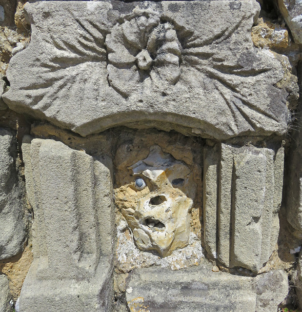 A skull found in the wall of the chapel at Cap Fagnet on the Normandy Coast of France