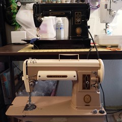 My daughter asked to take my beige #singer #301A to college, so I dug my gorgeous #301 out of the depths of my sewing room closet. After a bit of tinkering, it's running smoothly and ready for sewing with friends!