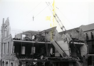 Broadway and Rattray Street buildings being demolished, May 1970
