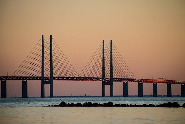 The Oresund Bridge at sunset