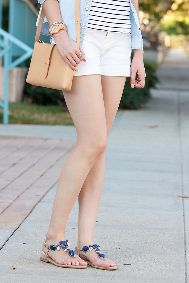 Fibi and Clo Sandals, J.Crew Bag, Jord Watch