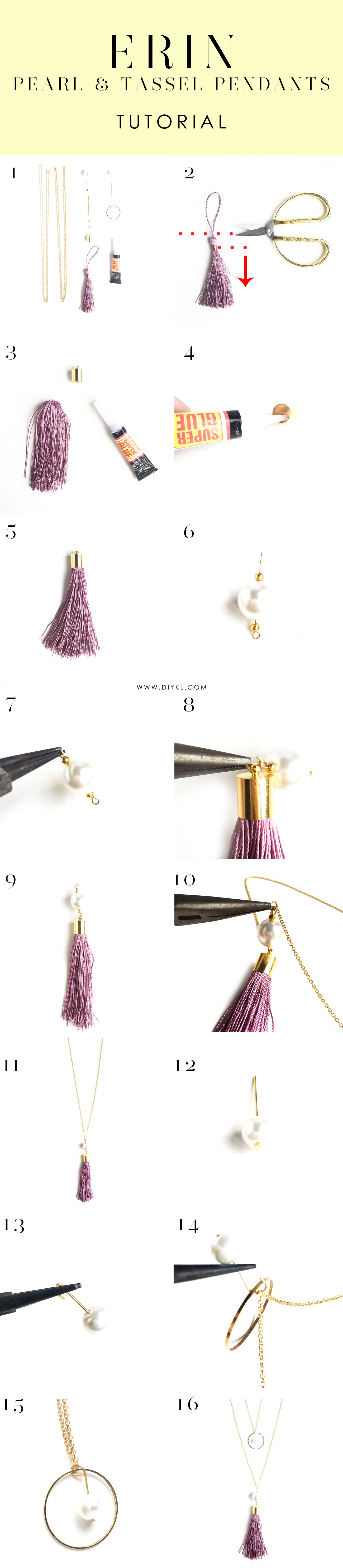 DIYKL ERIN Pearl and Tassel Necklace Pendants
