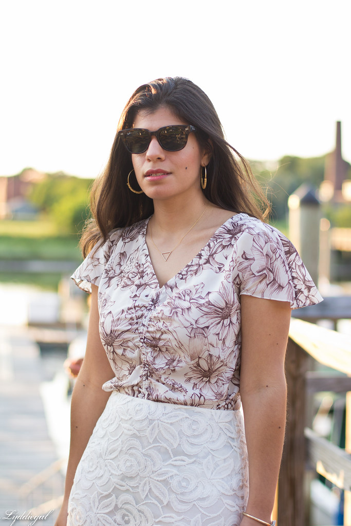 brown and white floral blouse, white lace skirt.jpg