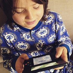 Birthday boy. When he opened the package he was very excited because there was a 3DS game. Then his face fell a bit and he said but we don't have a 3DS, how can I play it? When he then saw the DS underneath he was so excited he actually quivered. Was very