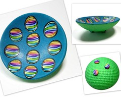 polymer clay Abstract Rainbow Ring Dish