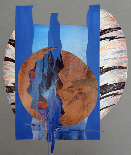 Magazine Collage and drawing Watercolour painting of Aquarius, the water carrier shown as an egg split apart by falling water