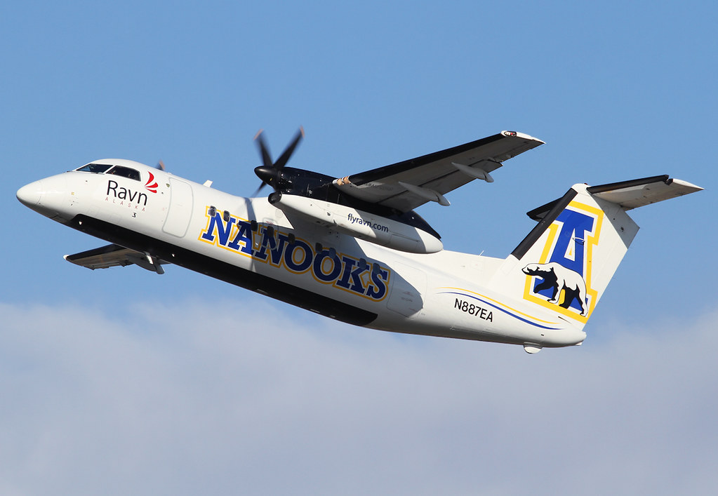 "New ""Alaska Nanooks"" livery, the sports team of the university of Fairbanks. Departing from RWY33. Delivered 02/1993 to Tyrolean."