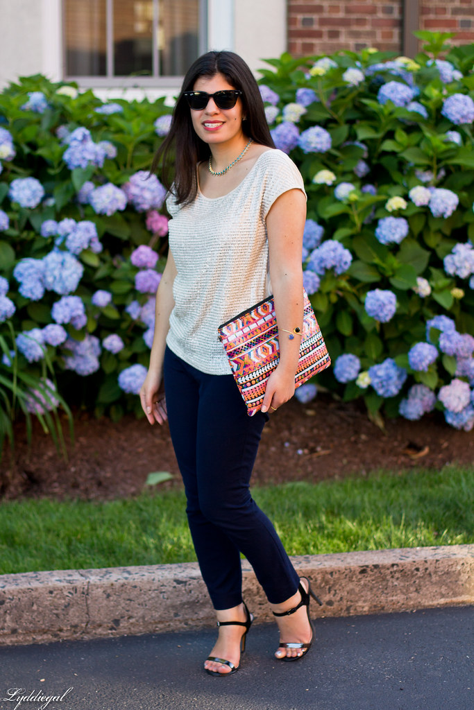 sequined top, navy pants, aztec clutch-3.jpg