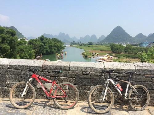 Mountain bikes on Dragon Bridge