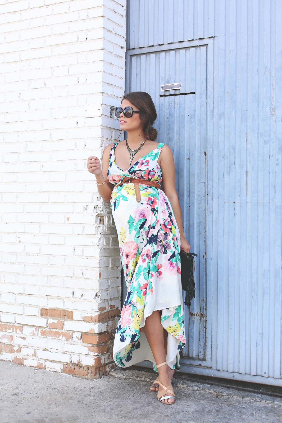 8. long floral boho folk dress - jessie chanes - pregnancy