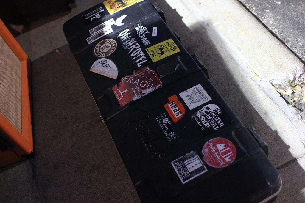 Arliss Nancy guitar case outside of Lookout Lounge, complete with Hear Nebraska sticker. | July 13, 2015