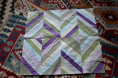15. Diamond String Quilt Panels Sewn Together - front