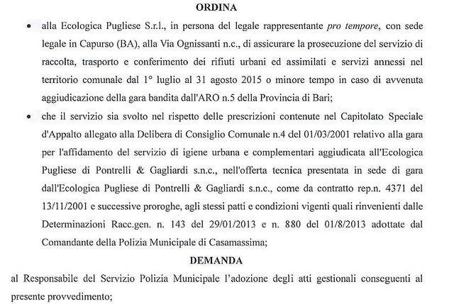 Casamassima- SIndaco Cessa proroga ecologica pugliese (2)