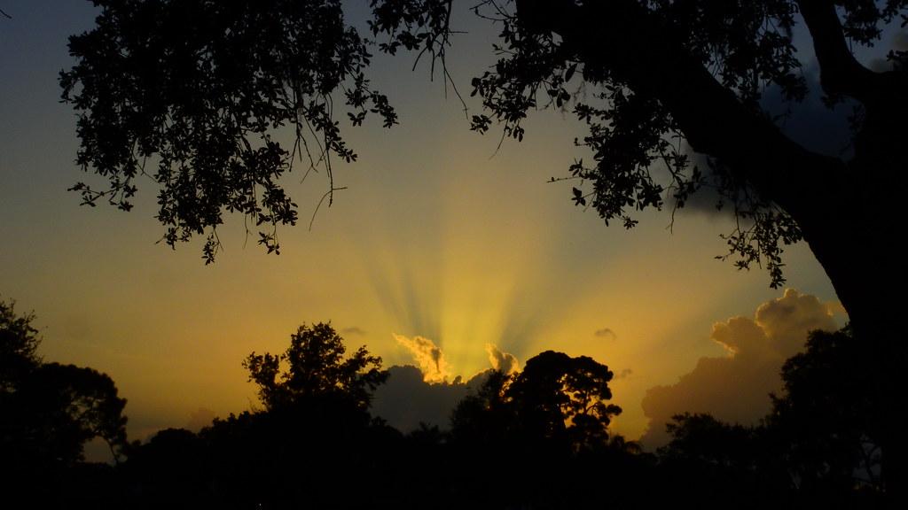Sunset cloud shadows