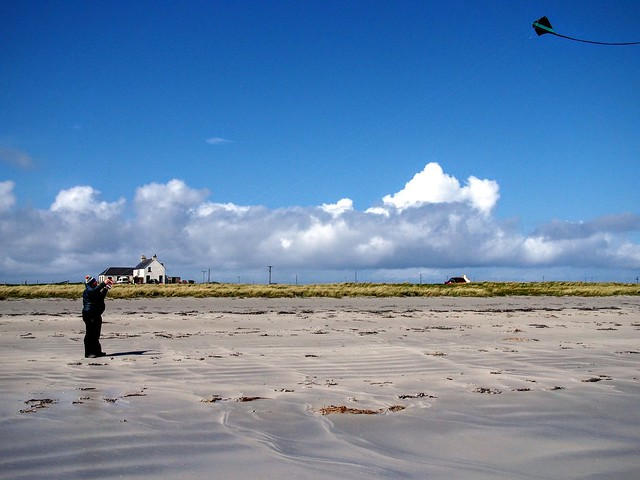 Kite flying at Gott bay, Tiree