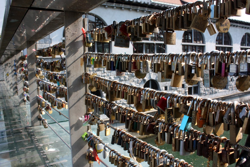 Locks on the bridge Ljubljana Slovenia