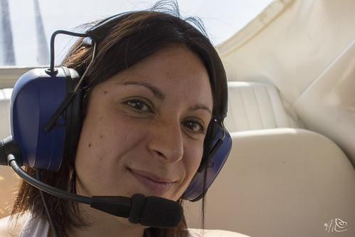 Michela sull'aereo