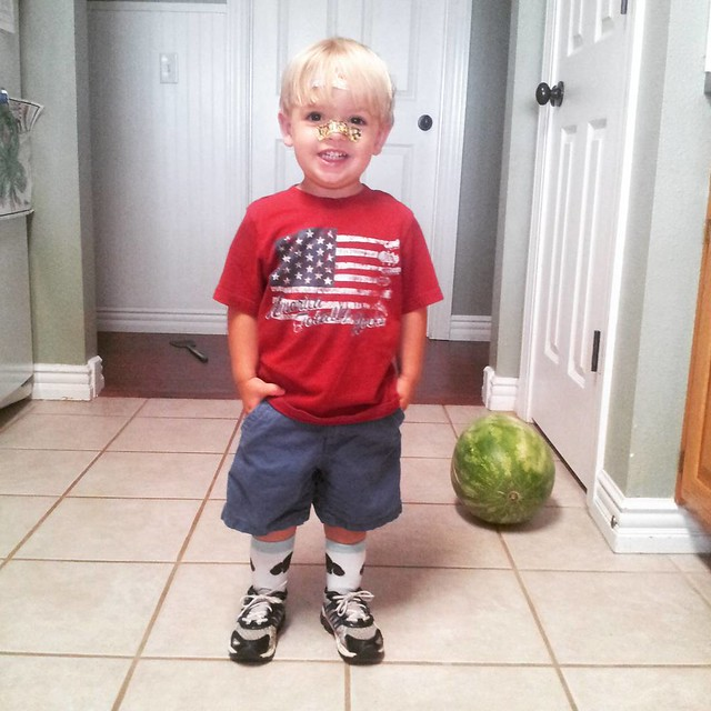 "He requested his beloved dog socks and tennis shoes. The battle wasn't worth fighting tonight, so he won. Then he found the band aids and strategically placed them on his ""broken"" nose. #merica #mboys2015"