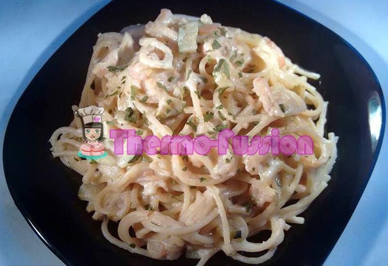 Espaguetis con gambas y calabac n fussioncook thermo fussion cook - Espagueti con gambas y nata ...