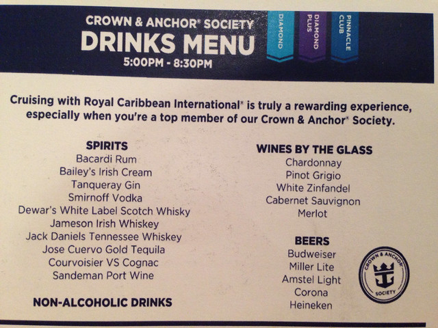 Free Drinks For Diamond And Suite Guests Cruise Critic Message - Allure of the seas drink package