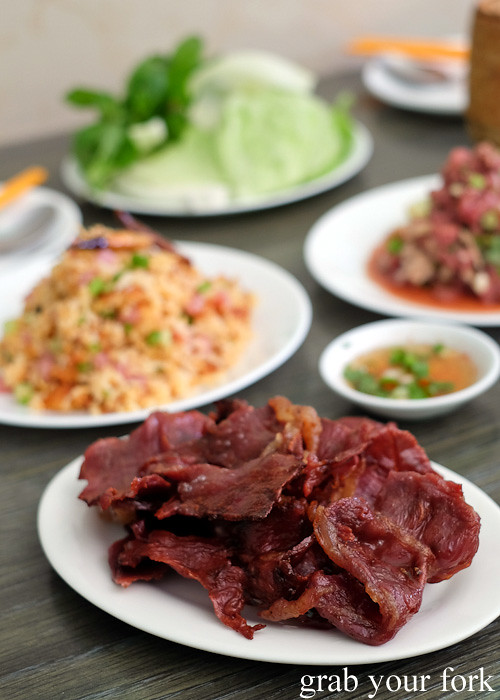 Lao dried beef at Phounguen Lao and Thai Restaurant, Cabramatta