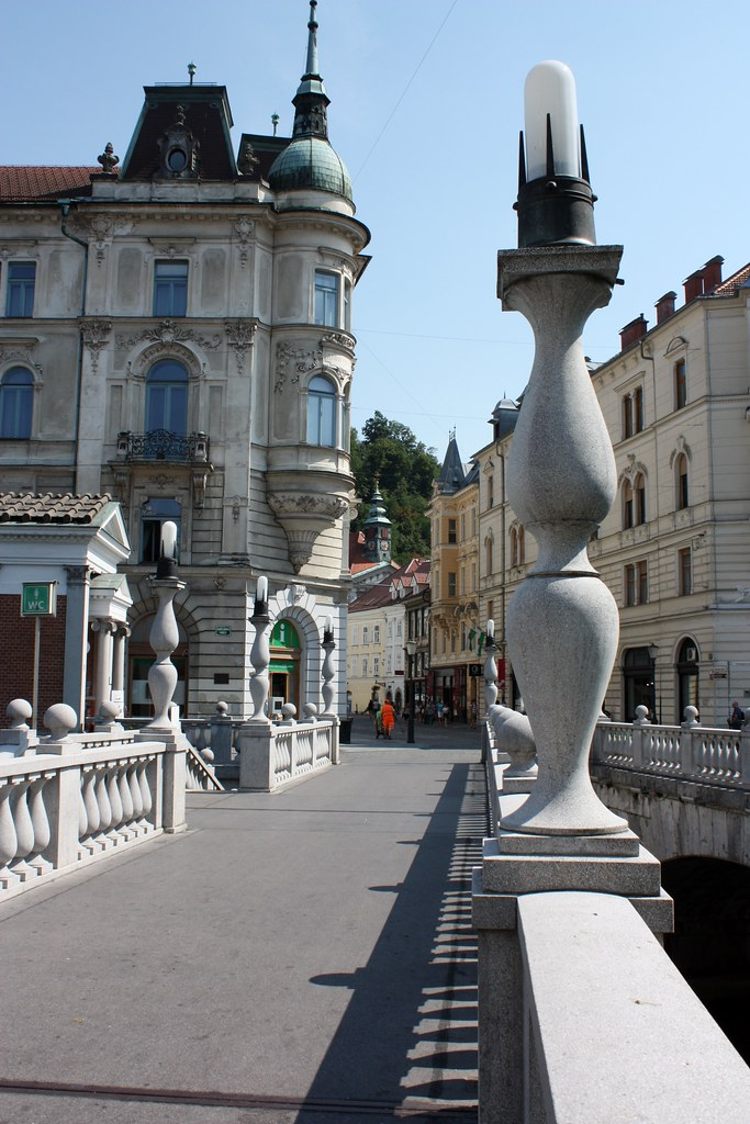 One of the three bridges in Ljubljana Slovenia