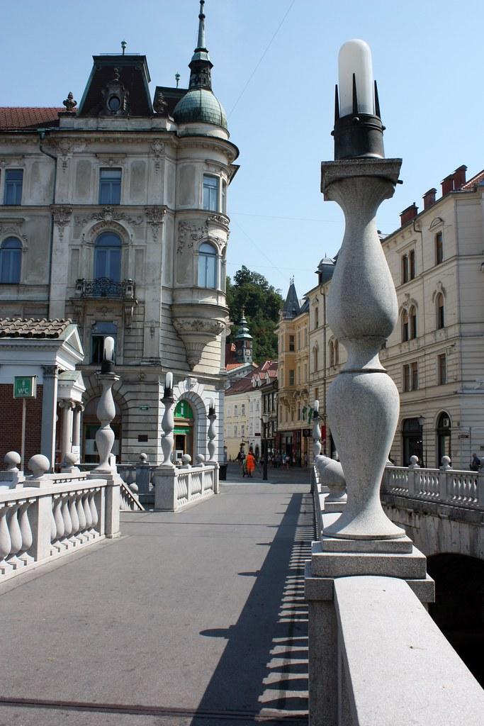 One of the three bridges in Ljubljana Slovenia