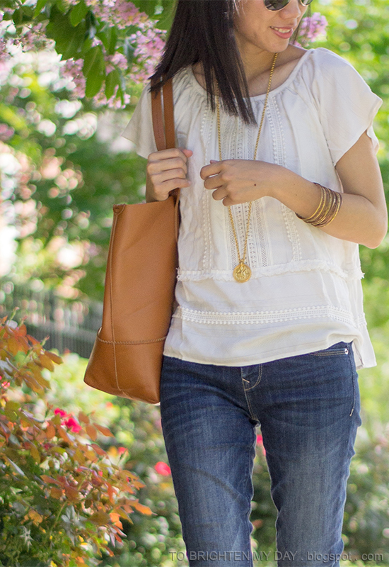 crochet lace with fringe detailed top, gold jewelry
