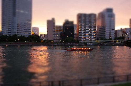 boat on Sumida river at sunset
