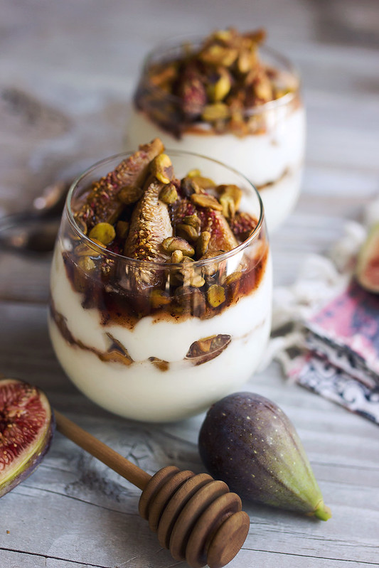 Honey Balsamic Roasted Fig and Toasted Pistachio Coconut Yogurt Parfaits