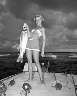 Helen Kiekhaefer (later Wimberly) with a large snook in Boca Grande
