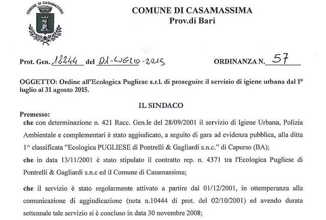 Casamassima- SIndaco Cessa proroga ecologica pugliese