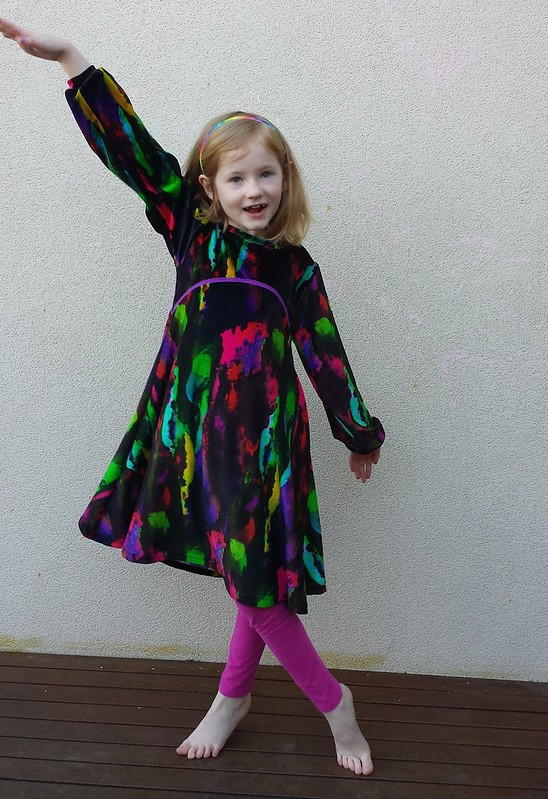 Playhouse dress in stretch velour from Darn Cheap Fabrics
