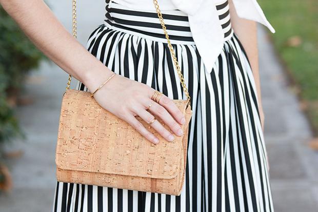 Lookbook Store Skirt, Cork Purse, Gold Rings, Bow Crop Top