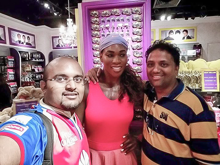 Hrish Thota Nivedith Gajapathi with Wax Statue of Serena Williams