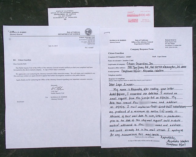 Letter from the State of California Department of Justice 7/23/2015
