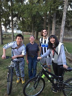 Tue, 06/02/2015 - 13:04 - : Florence Colton (2nd from left) and the bikes she gave to GCC student Kriss Jeanty (3rd from left) who's from Paris, France and Arsenio Ferreira of Timor Leste (not pictured). The two other students Yosuke Takada and Yuumy Kamata, are from Japan.