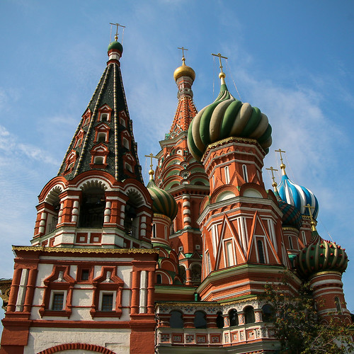 Eastern facade of Saint Basil's Cathedral, Moscow, Russia モスクワ、聖ワシリー寺院(ポクロフスキー聖堂)の東側ファサード