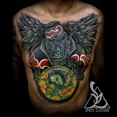 Ismaels Flying Monkey Chest Cover Up Tattoo By Ben Lucas A Flickr
