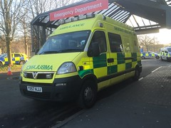 YX57HJJ  Vauxhall Movano with an unusual Gifa Collet Emergency Ambulance conversion, operated by Trust Medical,new to West Midlands AS Seen at Lancaster Royal Infirmary 28/12/2016